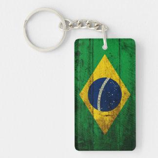 Brazil Flag on Old Wood Grain Double-Sided Rectangular Acrylic Keychain