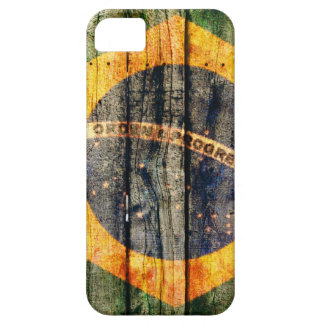 Brazil flag on wood texture background iPhone SE/5/5s case