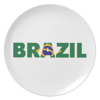 Brazil flag party plate