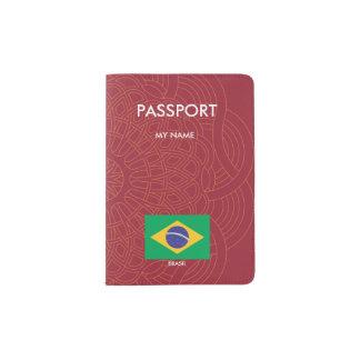 Brazil flag quality passport holder