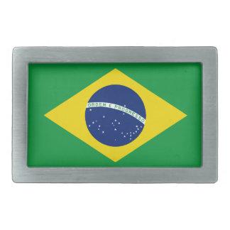 Brazil flag rectangular belt buckle