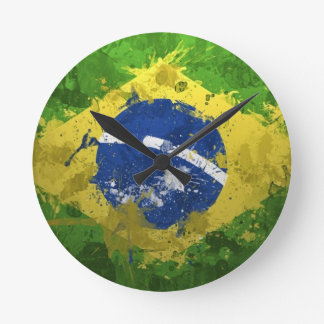 Brazil-Flag- Round Clock