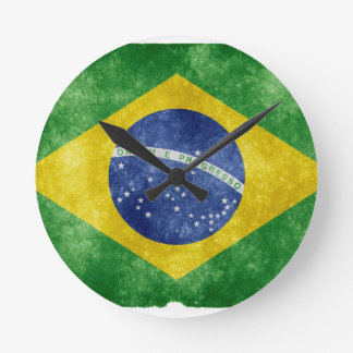 Brazil Flag Round Clock