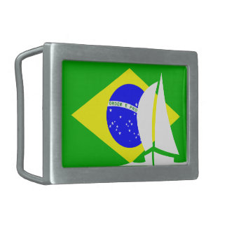 Brazil Flag Sailing Boat Nautical Belt Buckle