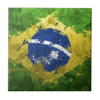 Brazil-Flag- Small Square Tile
