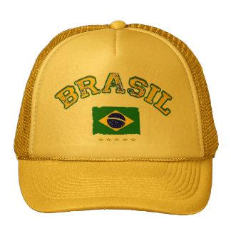 Brazil flag soccer style trucker hat