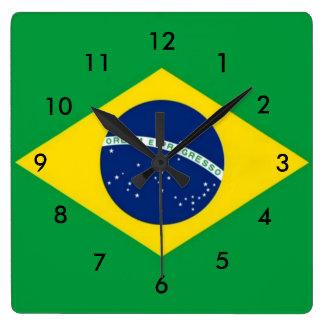 Brazil Flag Square Wall Clock