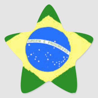 Brazil Flag Star Sticker
