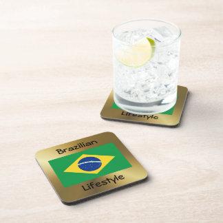 Brazil Flag+Text Coaster