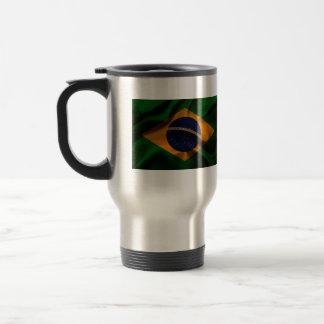 Brazil Flag waving silk Travel Mug