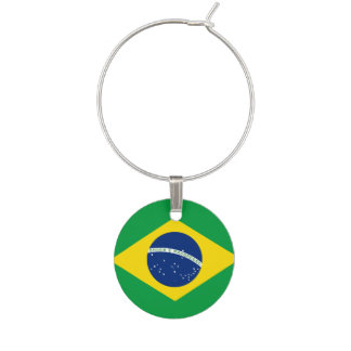 Brazil Flag Wine Glass Charm