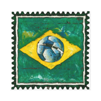 Brazil flag with ball like stamp gallery wrap canvas