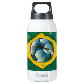 Brazil flag with ball like stamp thermos water bottle