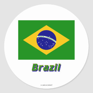 Brazil Flag with Name Classic Round Sticker