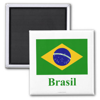 Brazil Flag with Name in Portuguese 2 Inch Square Magnet