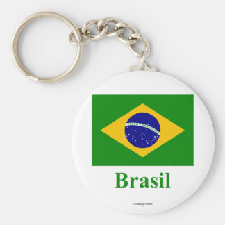 Brazil Flag with Name in Portuguese Keychain