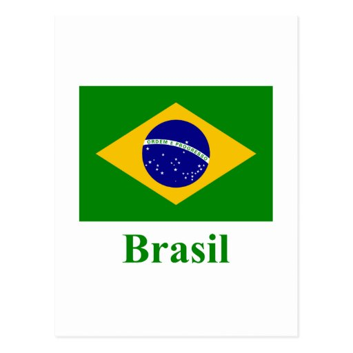 Brazil Flag with Name in Portuguese Postcard