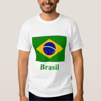 Brazil Flag with Name in Portuguese T Shirt