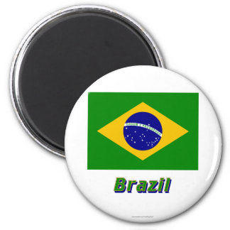 Brazil Flag with Name Magnet