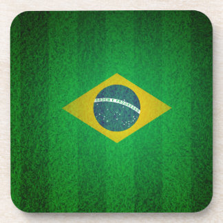 Brazil Flag With Soccer Field Texture Coasters