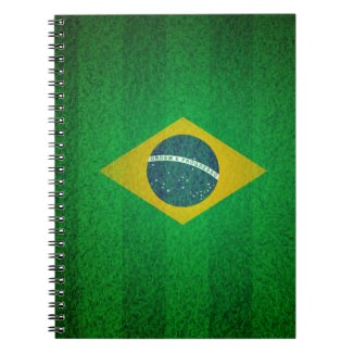 Brazil Flag With Soccer Field Texture Spiral Note Book
