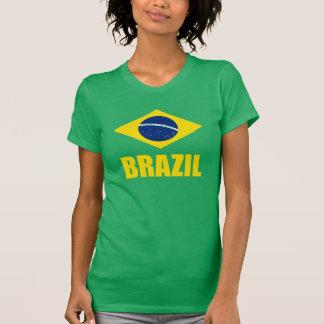 Brazil Flag Yellow Text Green T-Shirt