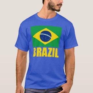 Brazil Flag Yellow Text T-Shirt