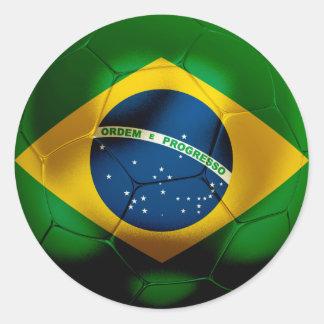 Brazil Football Classic Round Sticker