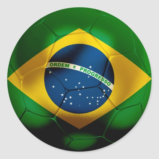 Brazil Football Classic Round Sticker
