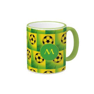 Brazil football pattern ringer coffee mug