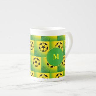Brazil football pattern tea cup