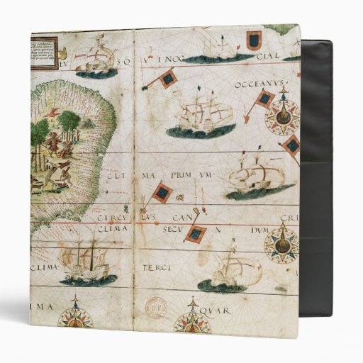 Brazil from the 'Miller Atlas' by Pedro Reinel 3 Ring Binder