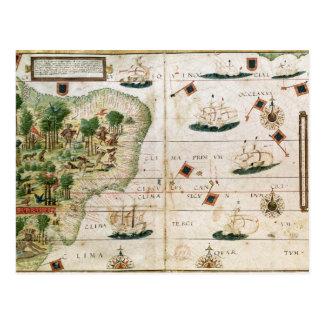 Brazil from the 'Miller Atlas' by Pedro Reinel Postcard