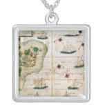 Brazil from the 'Miller Atlas' by Pedro Reinel Square Pendant Necklace