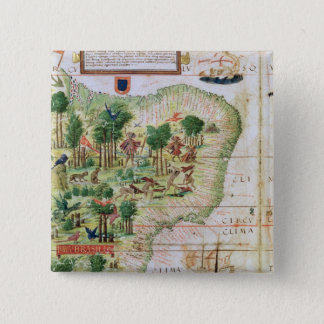 Brazil from the 'Miller Atlas' Pinback Button