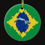 Brazil Gnarly Flag Ceramic Ornament