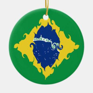 Brazil Gnarly Flag Ceramic Ornament