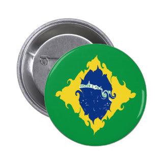 Brazil Gnarly Flag Pinback Button