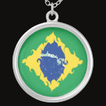 Brazil Gnarly Flag Silver Plated Necklace