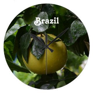 Brazil Grapefruit Large Clock