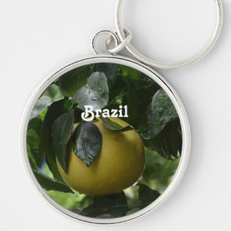 Brazil Grapefruit Silver-Colored Round Keychain