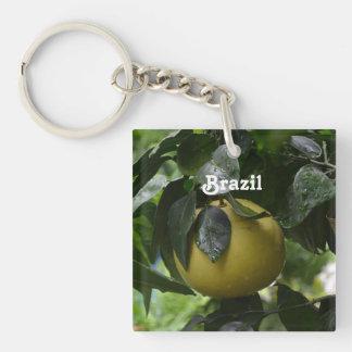 Brazil Grapefruit Single-Sided Square Acrylic Keychain