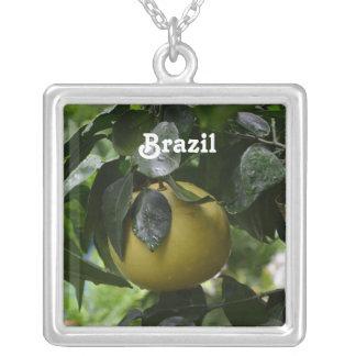 Brazil Grapefruit Square Pendant Necklace