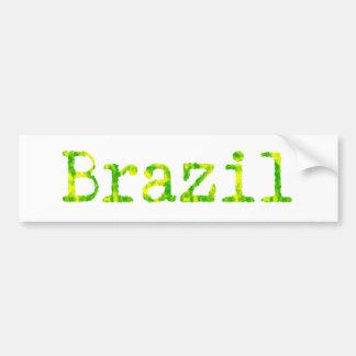Brazil Green and Yellow Font Bumper Sticker