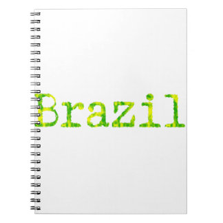 Brazil Green and Yellow Font Spiral Note Books
