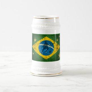 Brazil Grunge flag for Brazilians worldwide Beer Stein