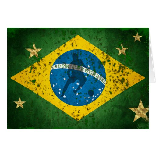 Brazil Grunge flag for Brazilians worldwide Card