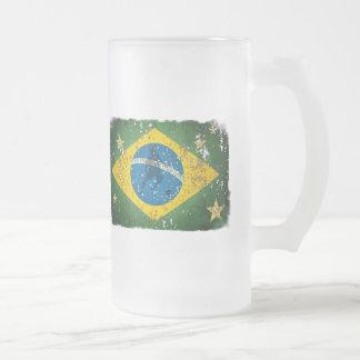 Brazil Grunge flag for Brazilians worldwide Frosted Glass Beer Mug