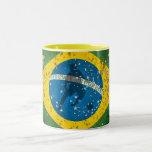 Brazil Grunge flag for Brazilians worldwide Two-Tone Coffee Mug