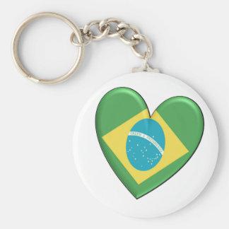 Brazil Heart Flag Basic Round Button Keychain